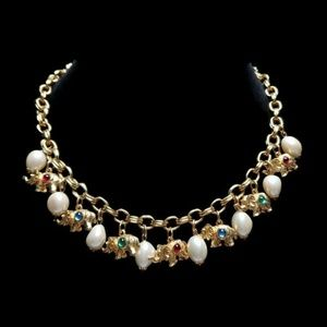 Vintage Elephant Charms Gold Tone Necklace Choker